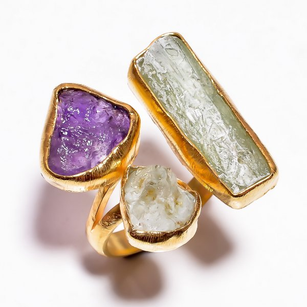 Green Kyanite Amethyst Raw Gemstone 925 Sterling Silver Gold Plated Ring Size 8 Adjustable