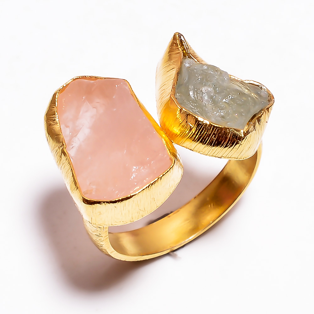 Rose Quartz Aquamarine Raw Gemstone 925 Sterling Silver Gold Plated Ring Size 7.75 Adjustable
