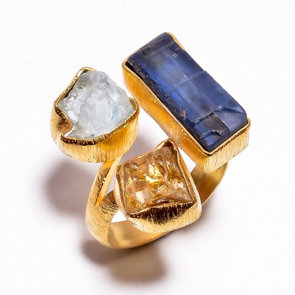 Kyanite Aquamarine Raw Gemstone 925 Sterling Silver Gold Plated Ring Size 6 Adjustable