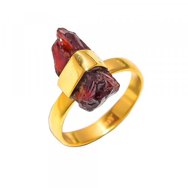 Garnet Raw Gemstone 925 Sterling Silver Gold Plated Ring Size US 8