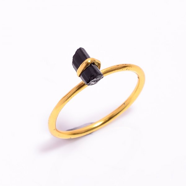 Black Tourmaline Raw Gemstone 925 Sterling Silver Gold Plated Ring Size US 9