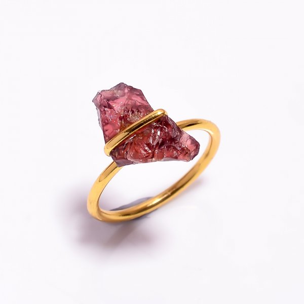 Garnet Raw Gemstone 925 Sterling Silver Gold Plated Ring Size
