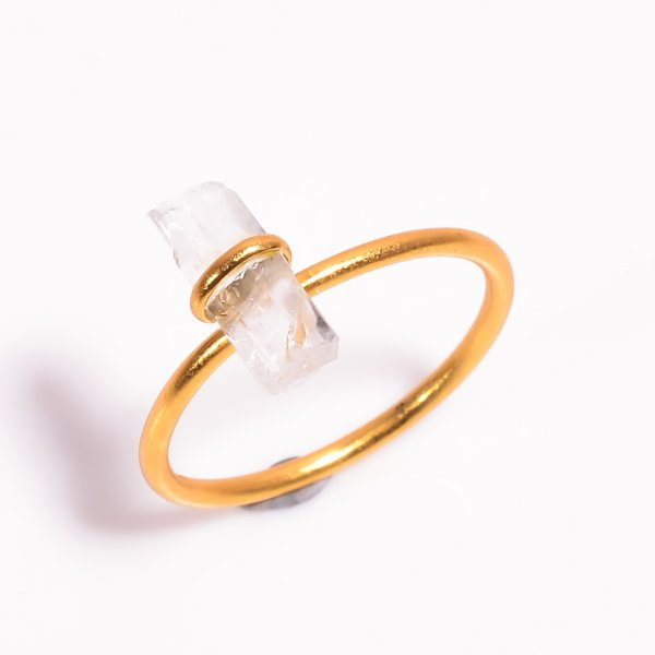 Raw Crystal Gemstone 925 Sterling Silver Gold Plated Ring