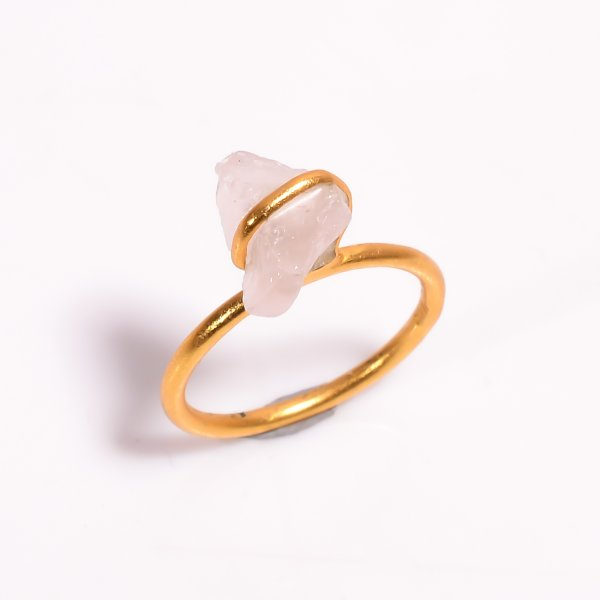 Raw Rose Quartz Gemstone 925 Sterling Silver Gold Plated Ring
