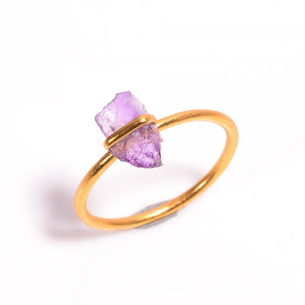 Raw Amethyst Gemstone 925 Sterling Silver Gold Plated Ring