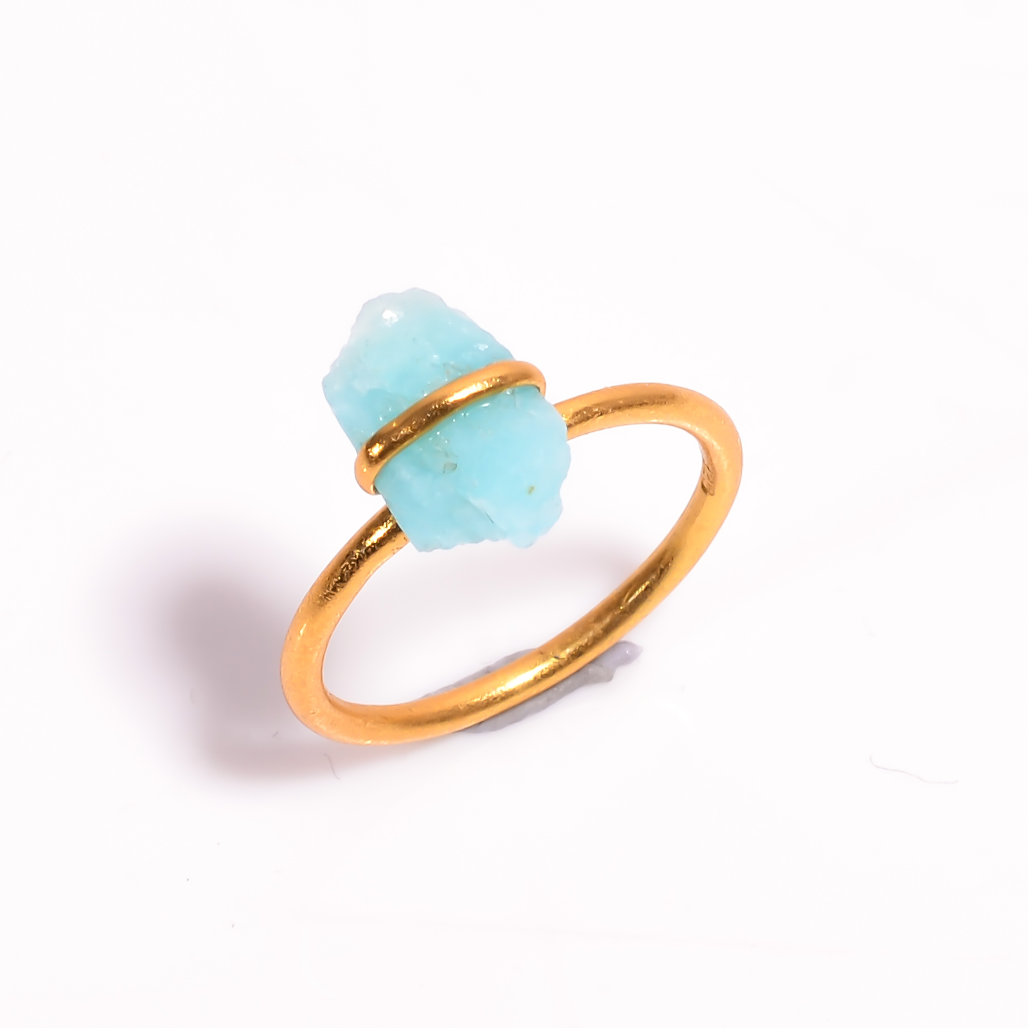 Amazonite Raw Gemstone 925 Sterling Silver Gold Plated Ring