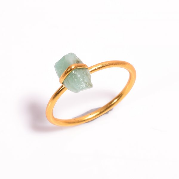 Emerald Raw Gemstone 925 Sterling Silver Gold Plated Ring