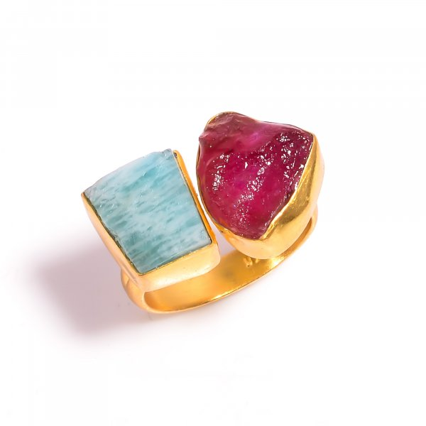 Ruby Amazonite Raw Gemstone 925 Sterling Silver Gold Plated Ring Size US 6.25 Adjustable