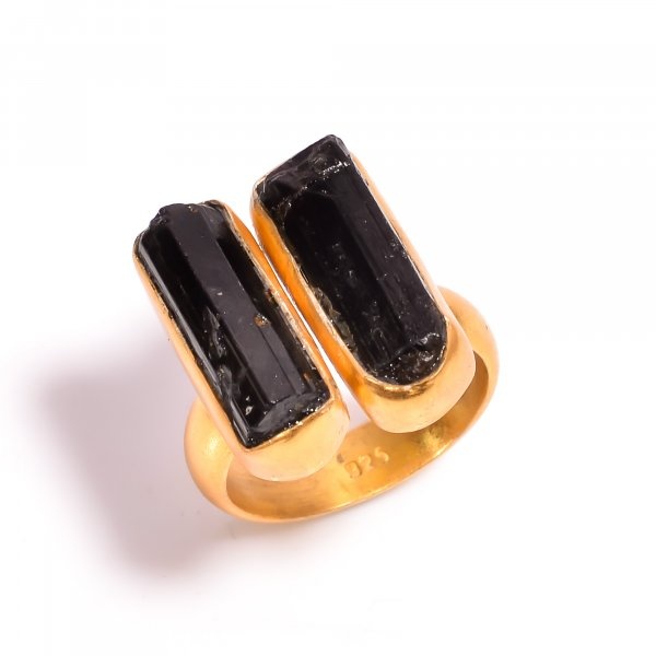 Black Tourmaline Raw Gemstone 925 Sterling Silver Gold Plated  Ring Size US 6.5