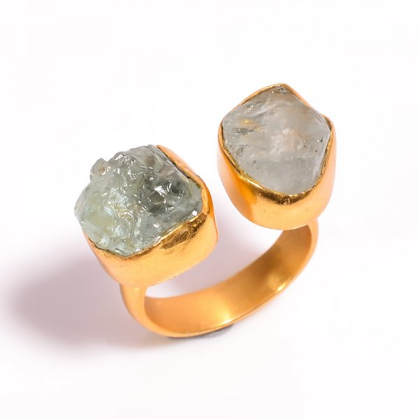 Aquamarine Raw Gemstone 925 Sterling Silver Gold Plated Adjustable Ring