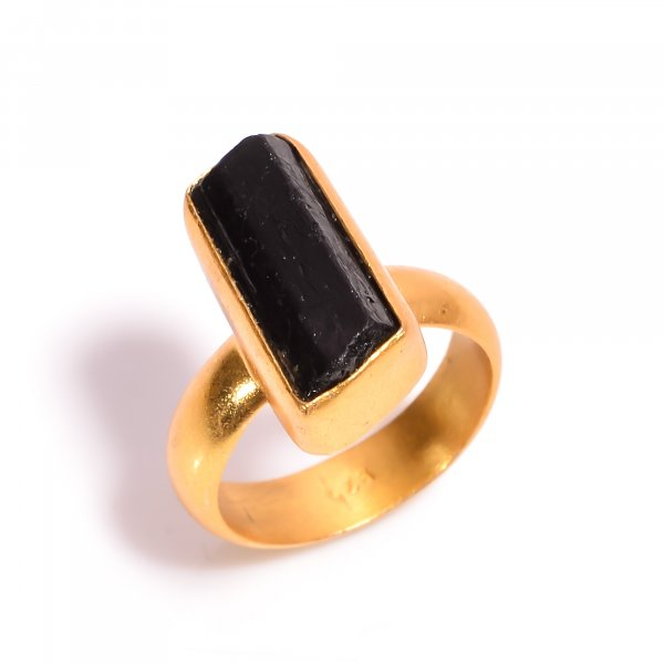 Black Tourmaline Raw Gemstone 925 Sterling Silver Gold Plated Ring