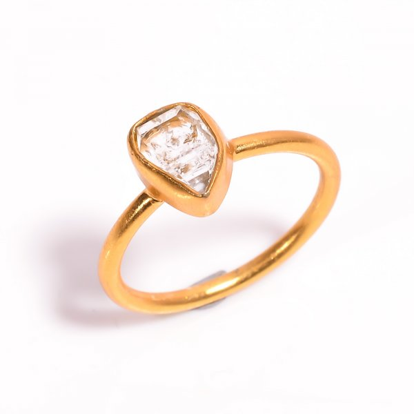 Natural Raw Herkimer Diamond  925 Sterling Silver Gold Plated Ring Size US 10