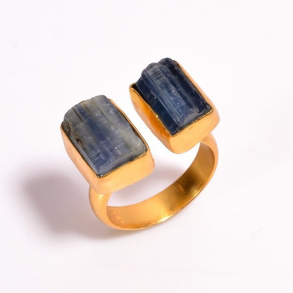 Blue Kyanite Raw Gemstone 925 Sterling Silver Gold Plated Ring Size US 8.75 Adjustable