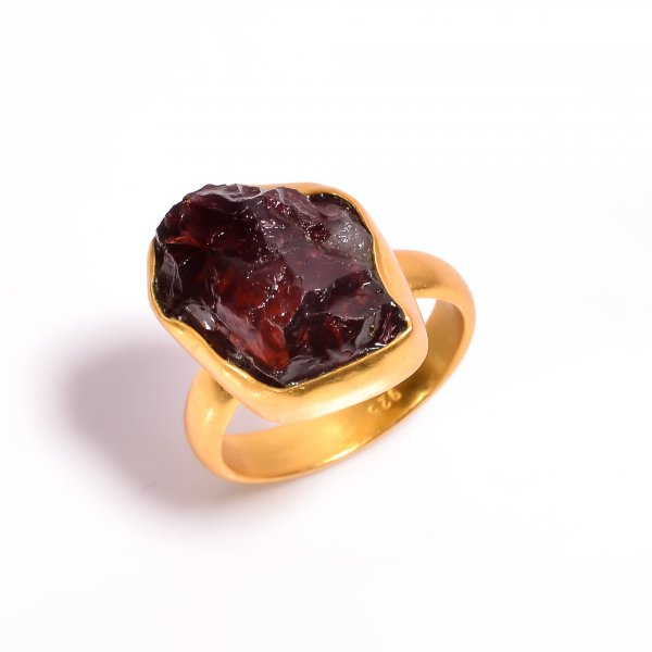 Garnet Raw Gemstone 925 Sterling Silver Gold Plated Ring Size US 10.25