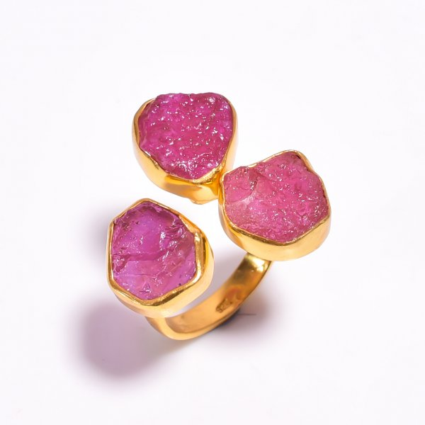 Ruby Raw Gemstone 925 Sterling Silver Gold Plated Adjustable Ring