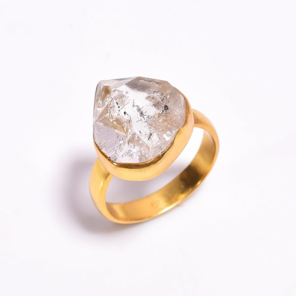 Raw Herkimer Diamond 925 Sterling Silver Gold Plated Ring Size US 7
