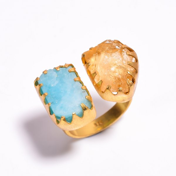 Raw Amazonite Citrine Gemstone 925 Sterling Silver Gold Plated Ring Size US 8.25 Adjustable