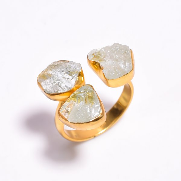 Raw Aquamarine Gemstone 925 Sterling Silver Gold Plated Ring Size US 8.5 Adjustable