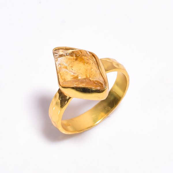 Raw Citrine Gemstone 925 Sterling Silver Gold Plated Ring Size US 7