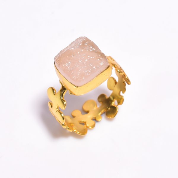 Raw Rose Quartz Gemstone 925 Sterling Silver Gold Plated Ring Size US 8