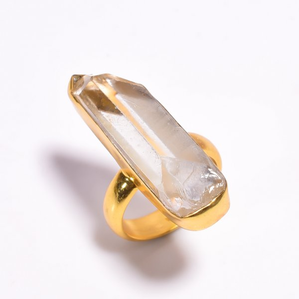 Raw Crystal 925 Sterling Silver Gold Plated Ring Size US 6