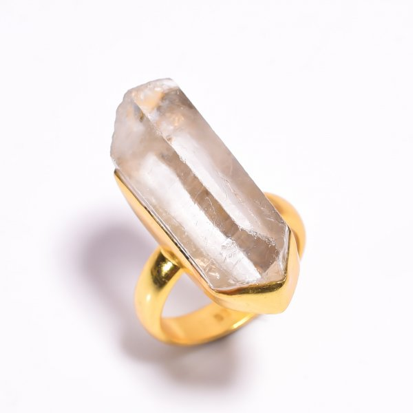 Raw Crystal 925 Sterling Silver Gold Plated Ring Size US 7.25