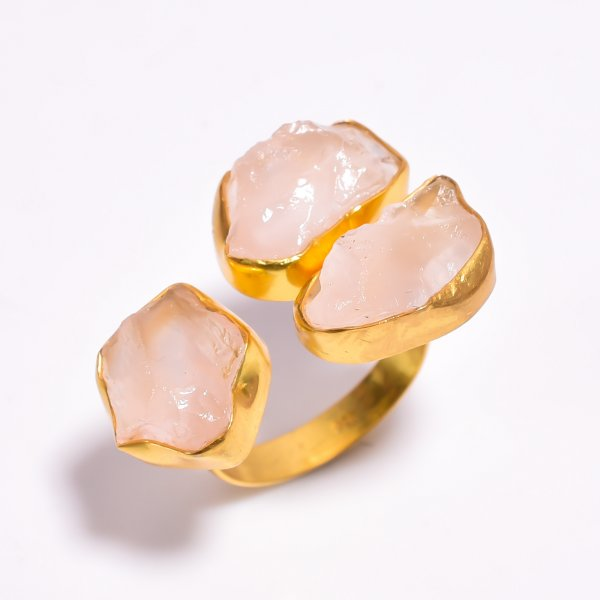 Raw Rose Quartz Gemstone 925 Sterling Silver Gold Plated Ring Size US 9.25 Adjustable