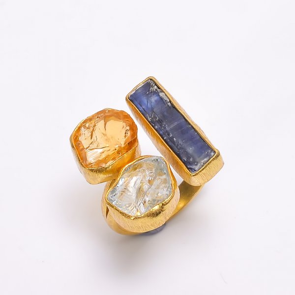 Blue Kyanite Aquamarine Citrine Raw Gemstone 925 Sterling Silver Gold Plated Adjustable Ring