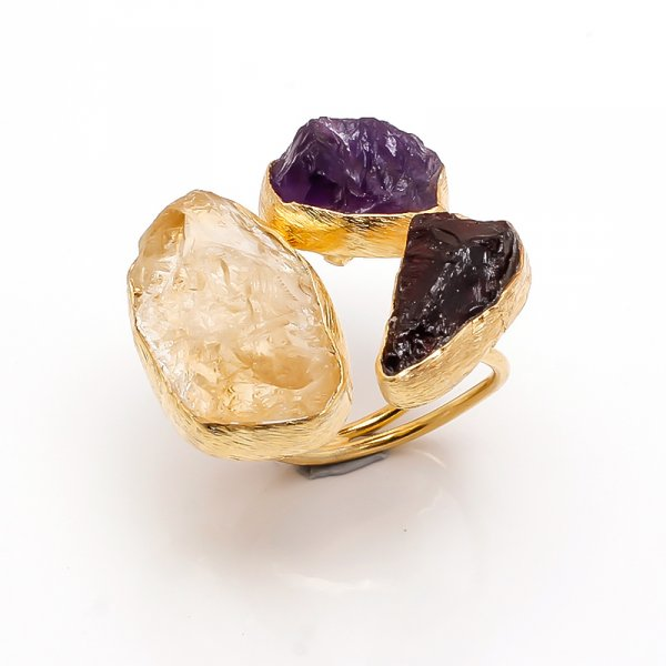 Citrine Amethyst Raw Gemstone 925 Sterling Silver Gold Plated Ring Size 7