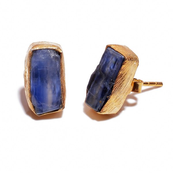 Blue Raw Gemstone 925 Sterling Silver Gold Plated Stud Earrings