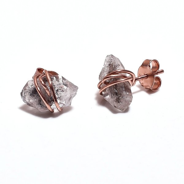 Raw Herkimer Diamond 925 Sterling Silver Rose Gold Plated Stud Earrings