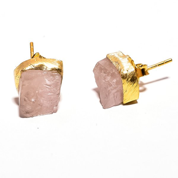 Raw Kunzite Gemstone 925 Sterling Silver Rose Gold Plated Stud Earrings