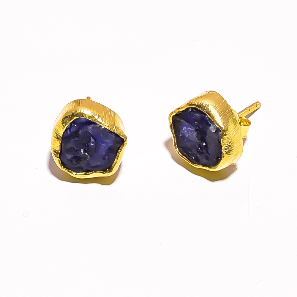 Raw Corundum Sapphire 925 Sterling Silver Gold Plated Stud Earrings
