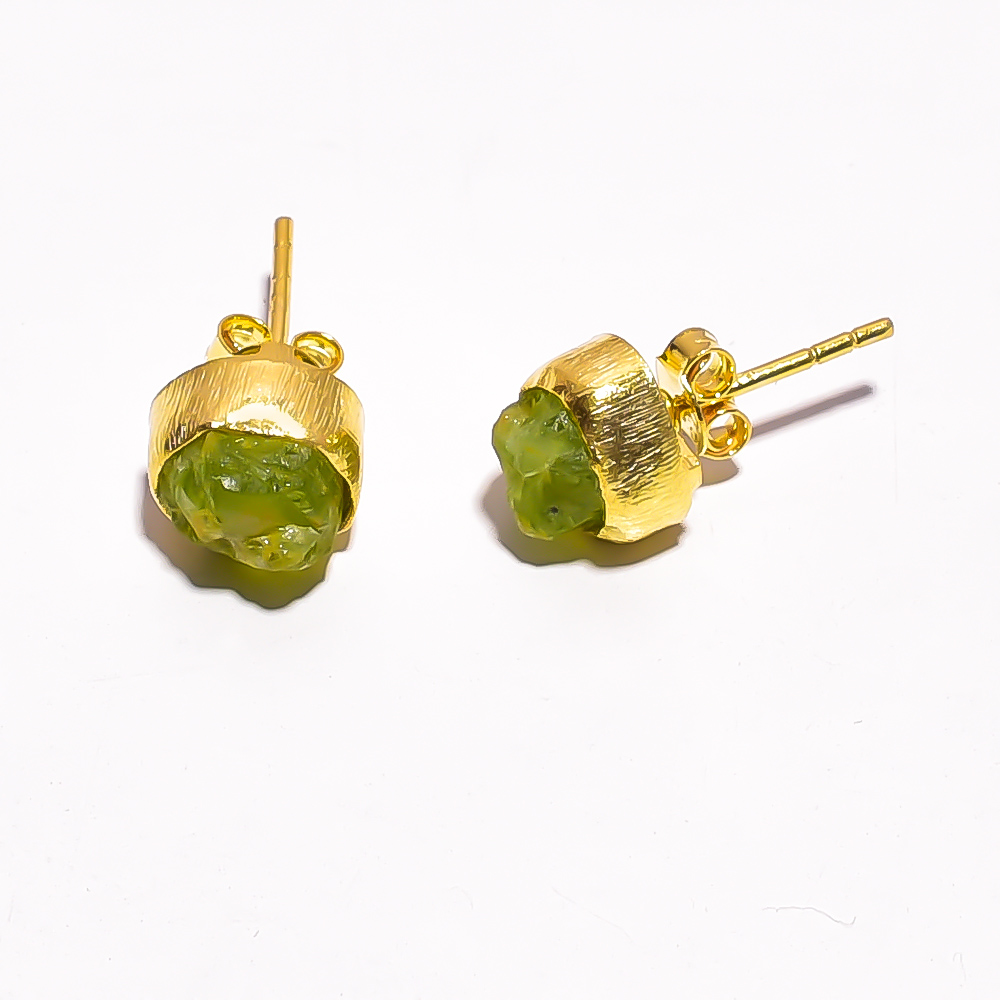 Raw Peridot Gemstone 925 Sterling Silver Gold Plated Stud Earrings