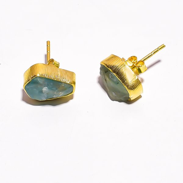 Raw Sky Apatite 925 Sterling Silver Gold Plated Stud Earrings