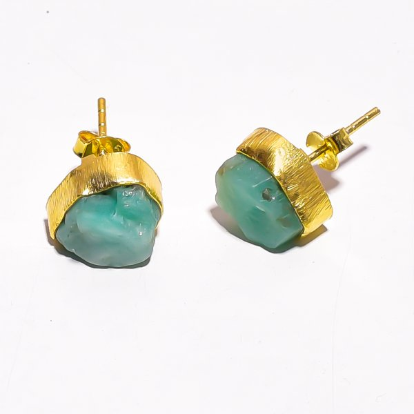 Raw Emerald  925 Sterling Silver Gold Plated Stud Earrings