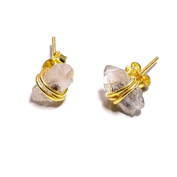 Raw Herkimer Diamond 925 Sterling Silver Gold Plated Stud Earrings