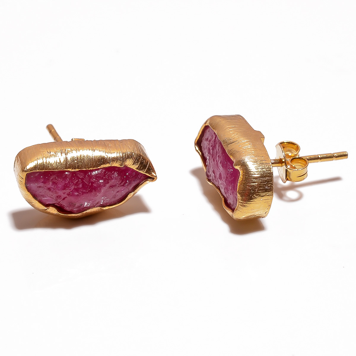Corundum Ruby Raw Gemstone 925 Sterling Silver Gold Plated Stud Earrings