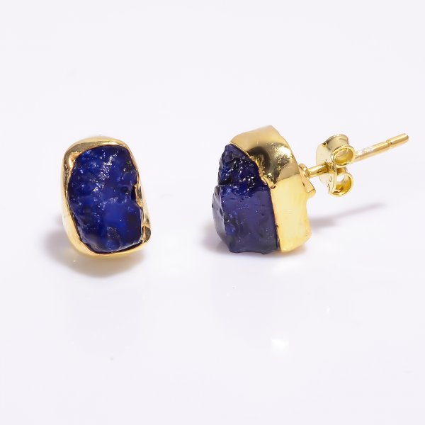 Sapphire Raw Gemstone 925 Sterling Silver Gold Plated Stud Earrings