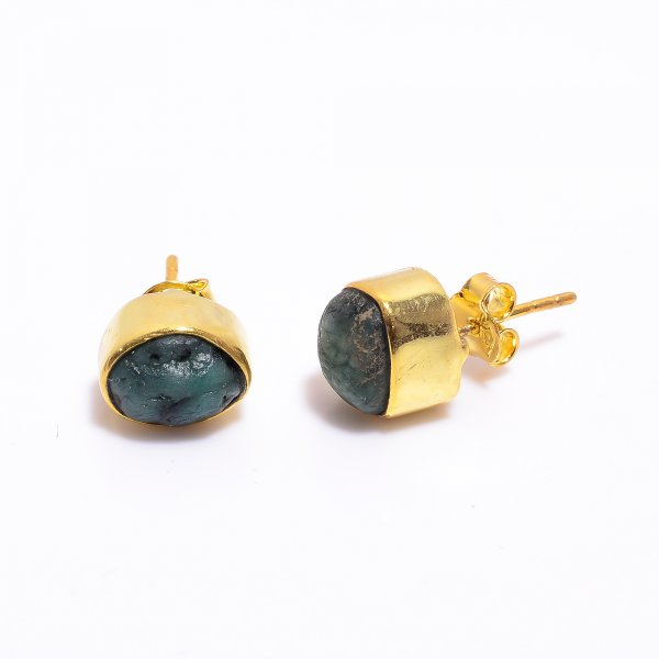 Emerald Raw Gemstone 925 Sterling Silver Gold Plated Stud Earrings