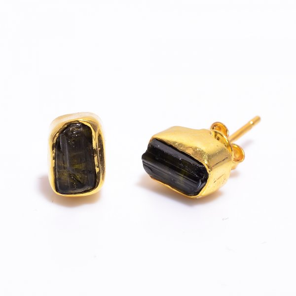 Black Tourmaline Raw Gemstone 925 Sterling Silver Gold Plated Stud Earrings