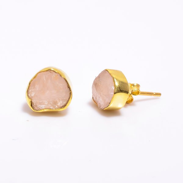 Rose Quartz Raw Gemstone 925 Sterling Silver Gold Plated Stud Earrings
