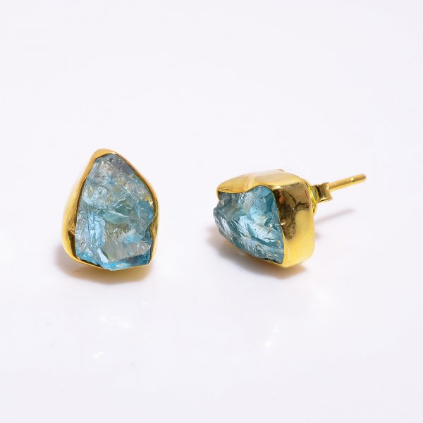 Sky Apatite Raw Gemstone 925 Sterling Silver Gold Plated Stud Earrings