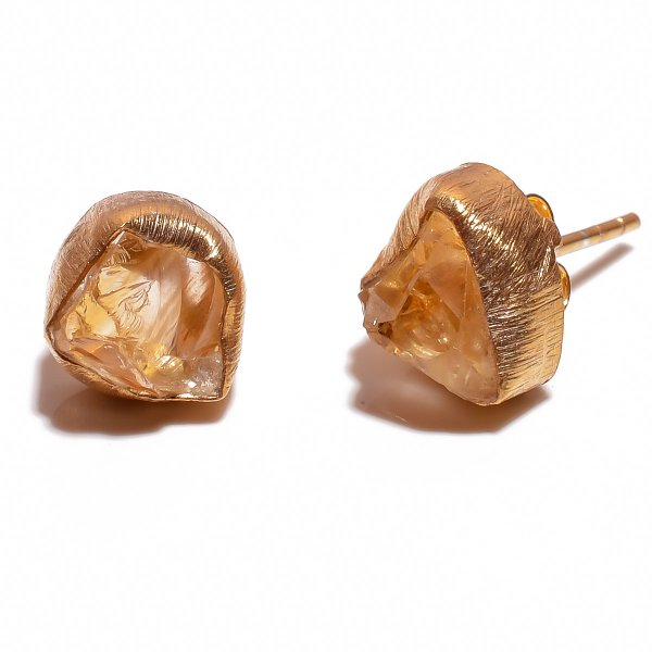 Citrine Raw Gemstone 925 Sterling Silver Gold Plated Stud Earrings
