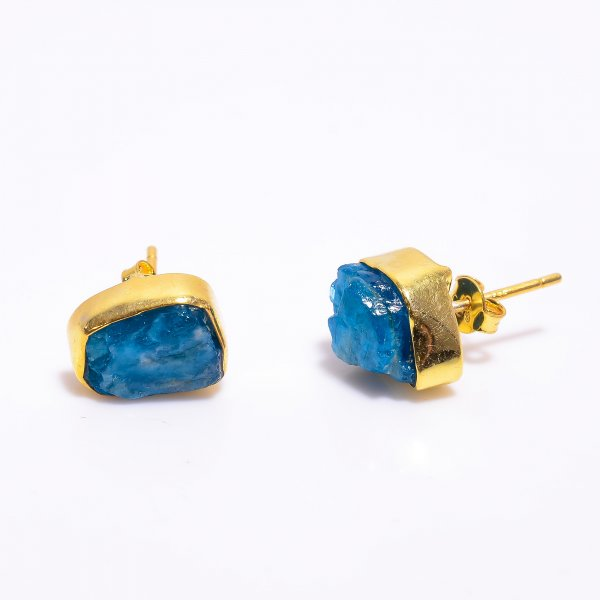 Neon Apatite Raw Gemstone 925 Sterling Silver Gold Plated Stud Earrings