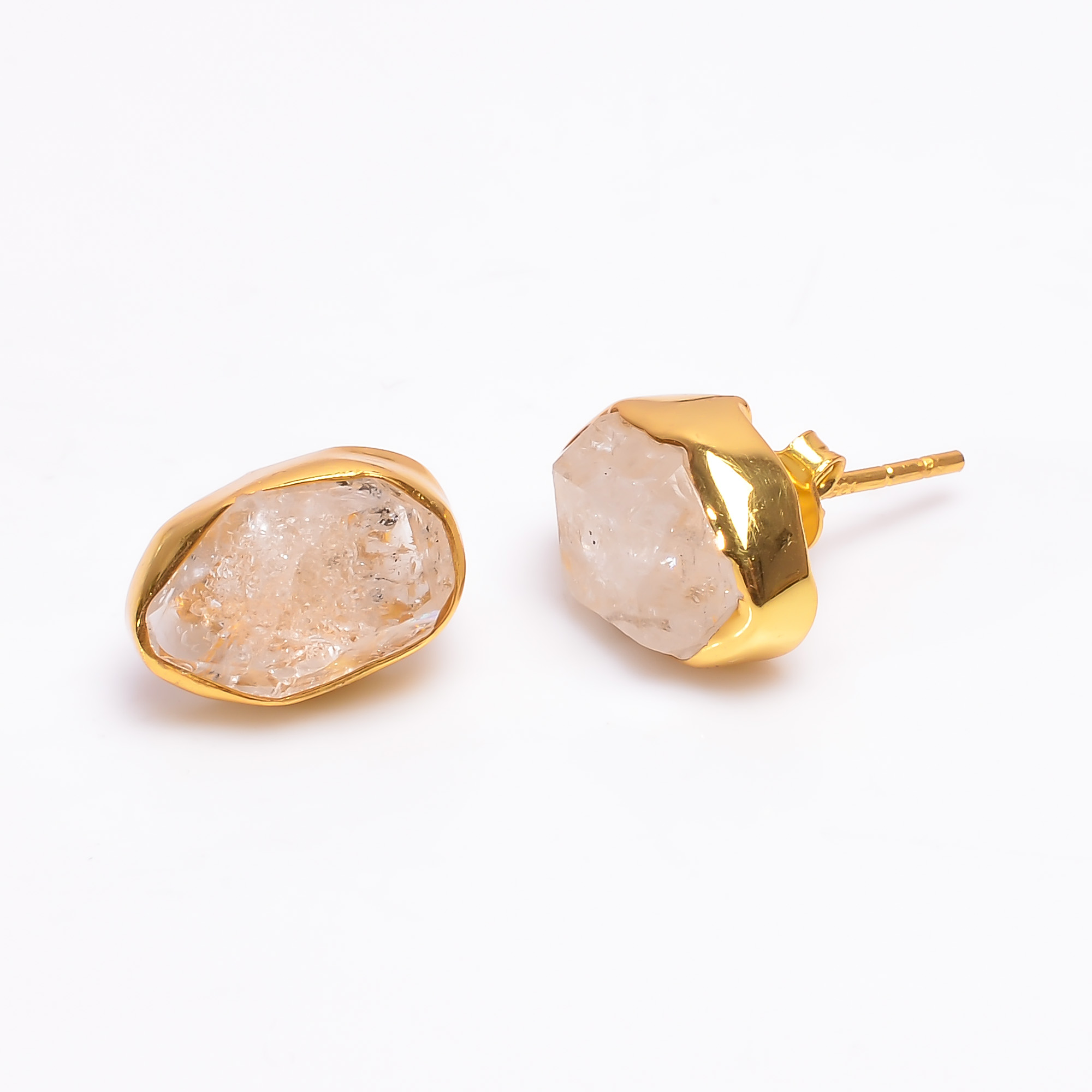 Natural Herkimer Diamond 925 Sterling Silver Gold Plated Stud Earrings