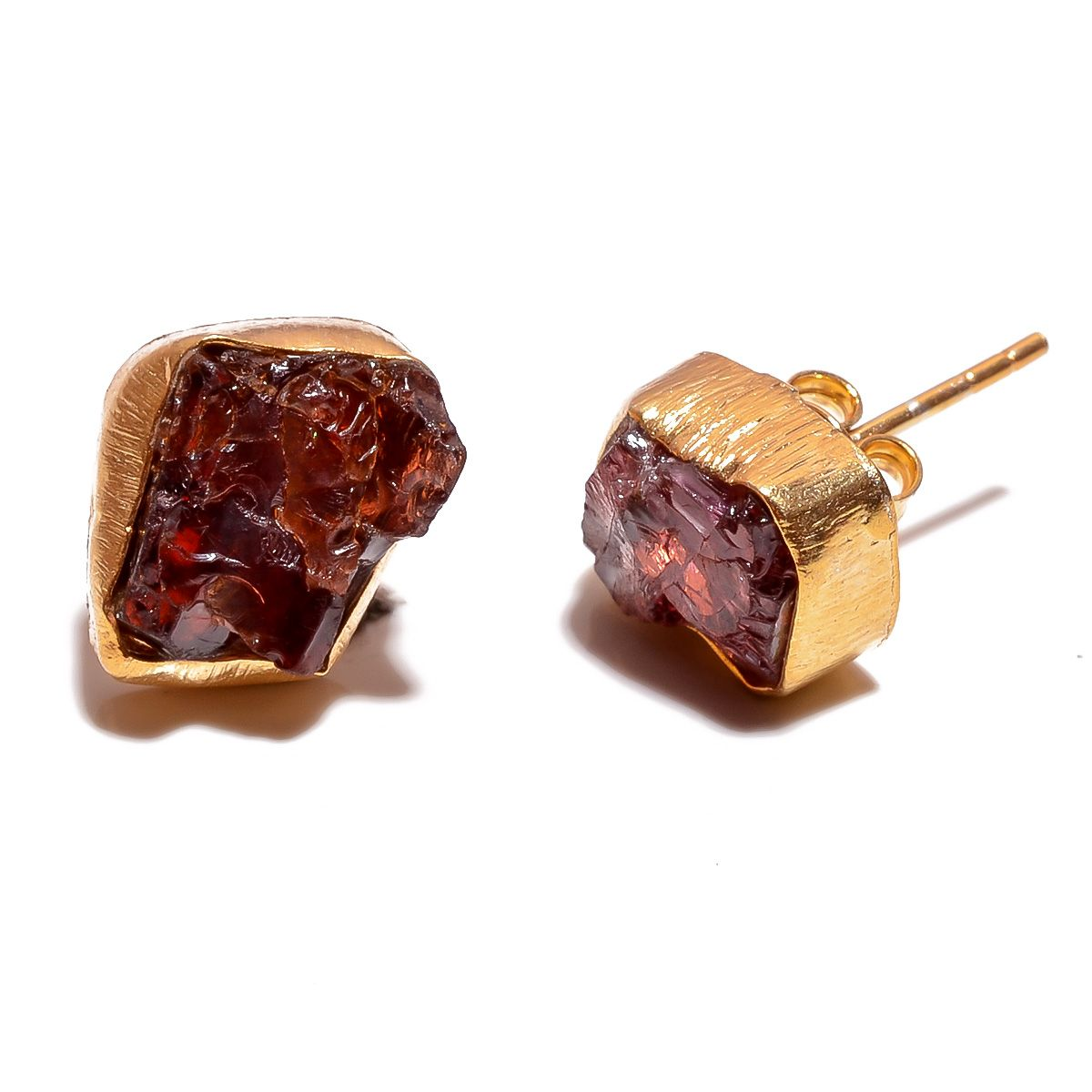 Garnet Raw Gemstone 925 Sterling Silver Gold Plated Stud Earrings
