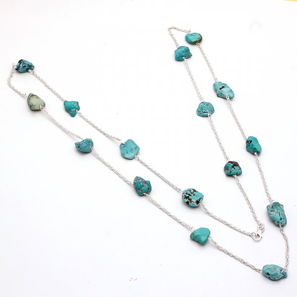 Turquoise Raw Gemstone 925 Sterling Silver Necklace