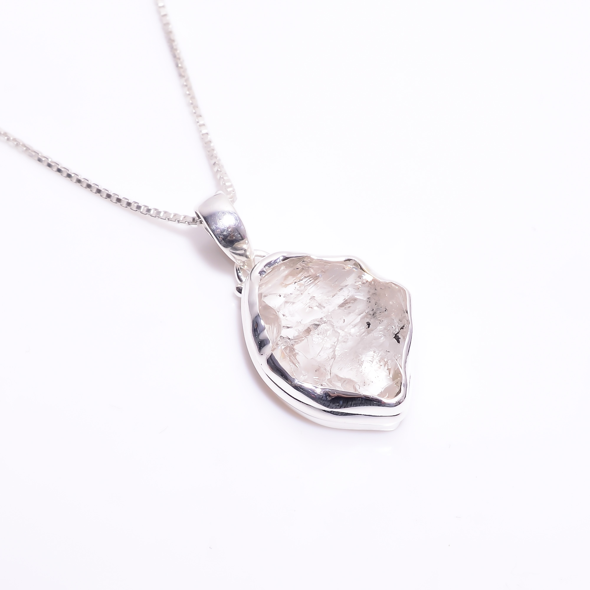 Natural Herkimer Diamond 925 Sterling Silver Necklace