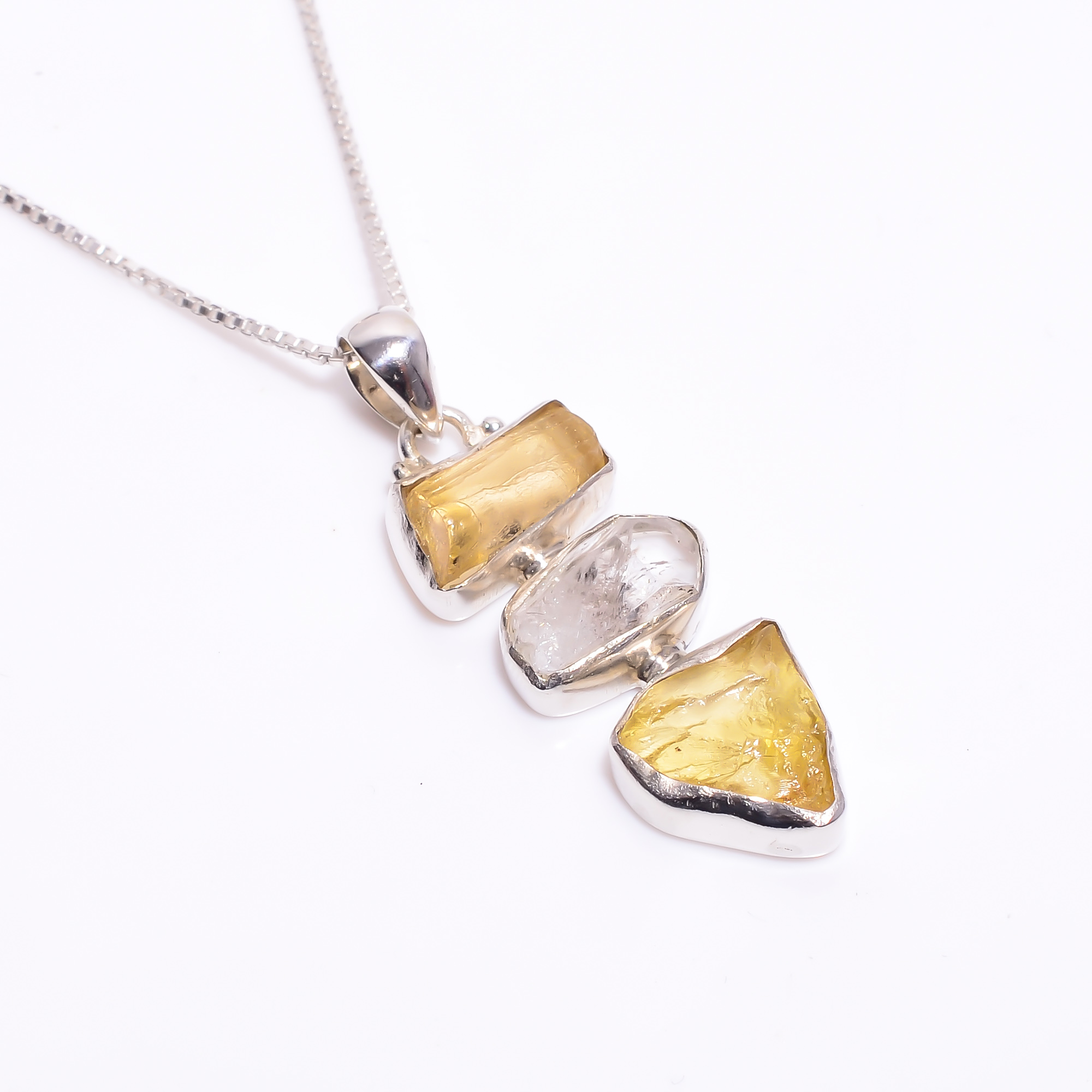 Natural Raw Amber Herkimer Diamond 925 Sterling Silver Necklace